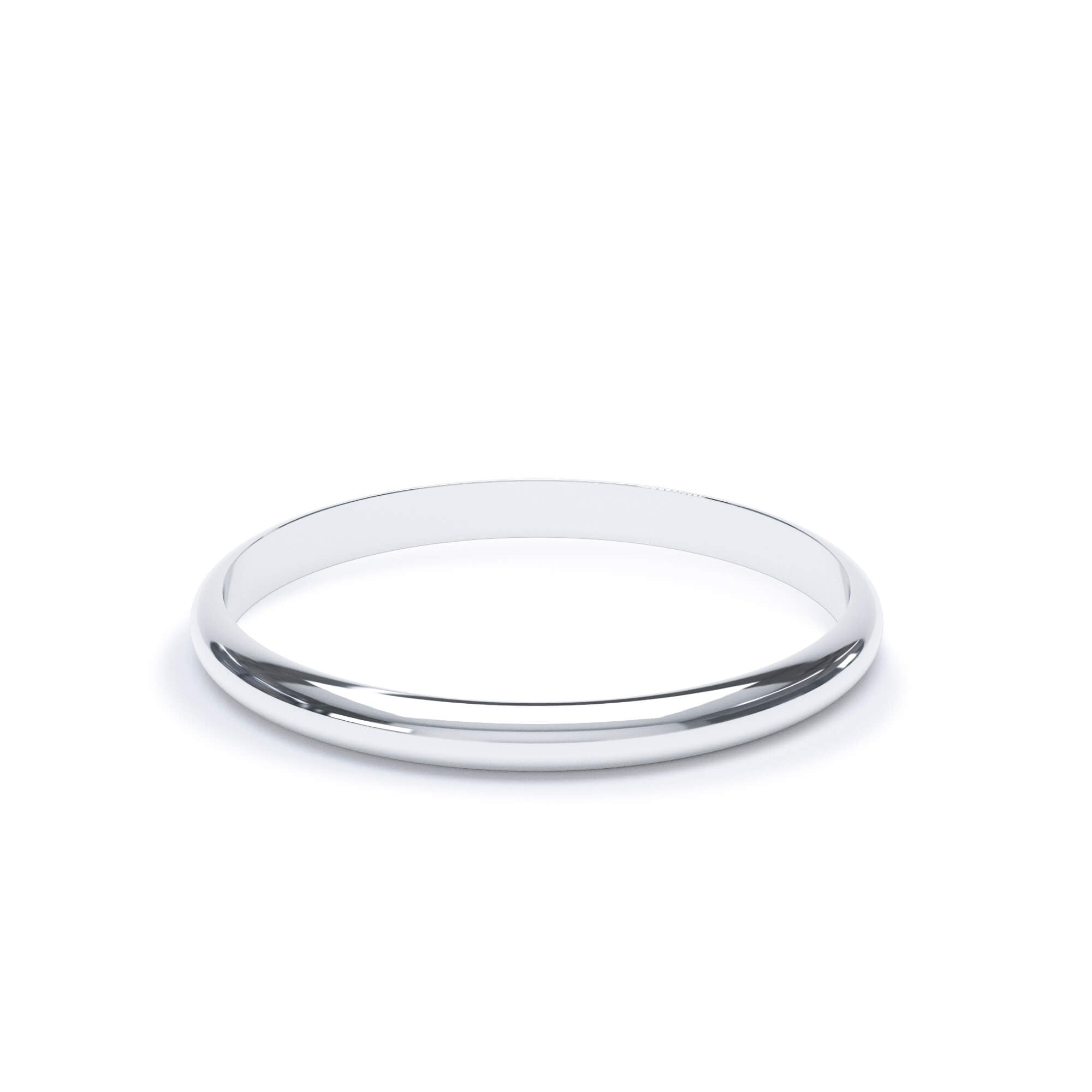 Lily Arkwright Wedding Bands 2.0mm / Platinum Women's Plain Wedding Band D Shape Profile Platinum