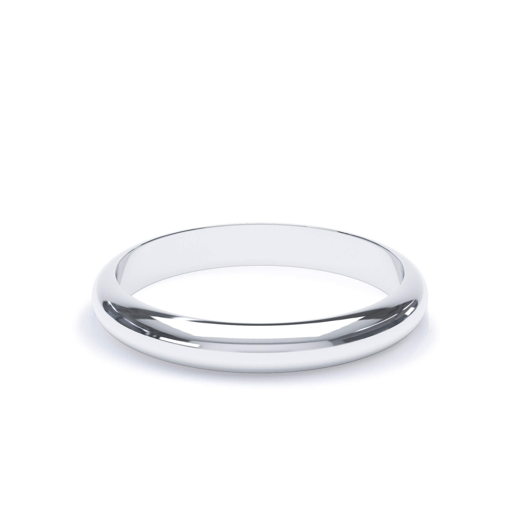 Lily Arkwright Wedding Bands 3.0mm / Platinum Women's Plain Wedding Band D Shape Profile Platinum