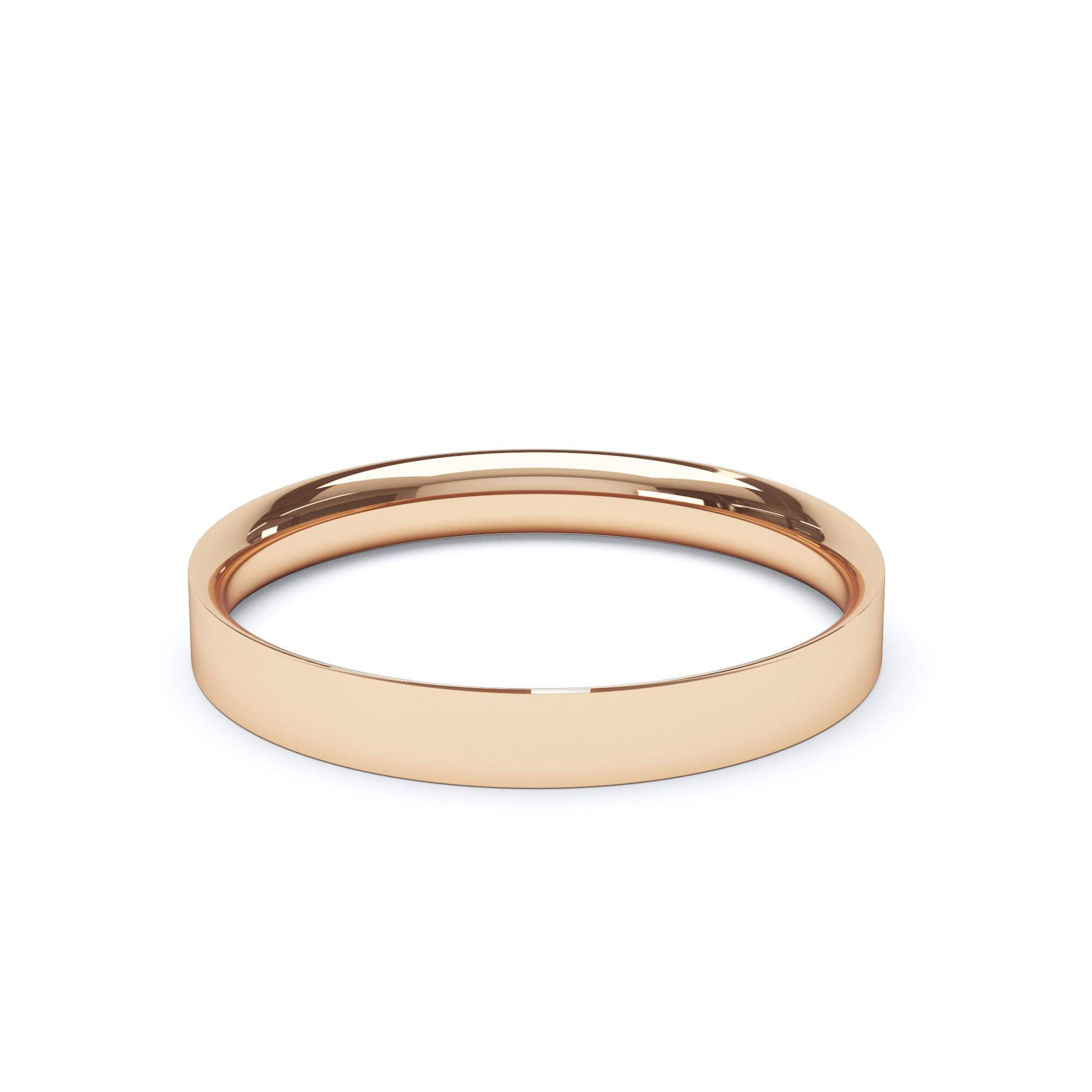 Lily Arkwright Wedding Bands 3.0mm / 18K Rose Gold Women's Plain Wedding Band Flat Court Profile 18k Rose Gold