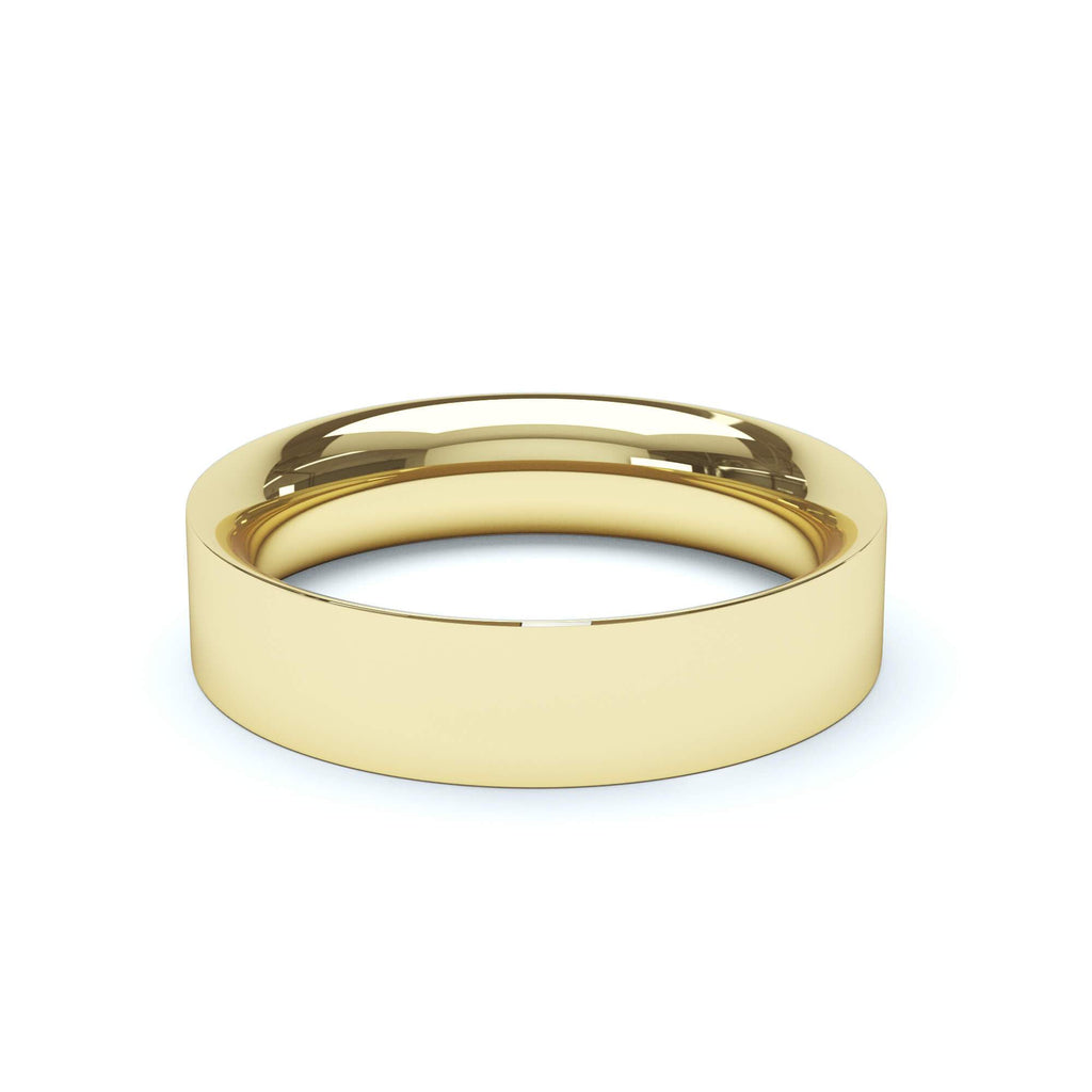 Plain Wedding Band Flat Court Profile 18k Yellow Gold