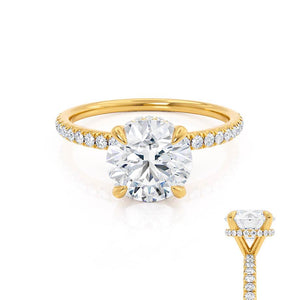 Lily Arkwright Lively H&A round cut charles & colvard cut hidden halo moissanite ring 18k yellow gold