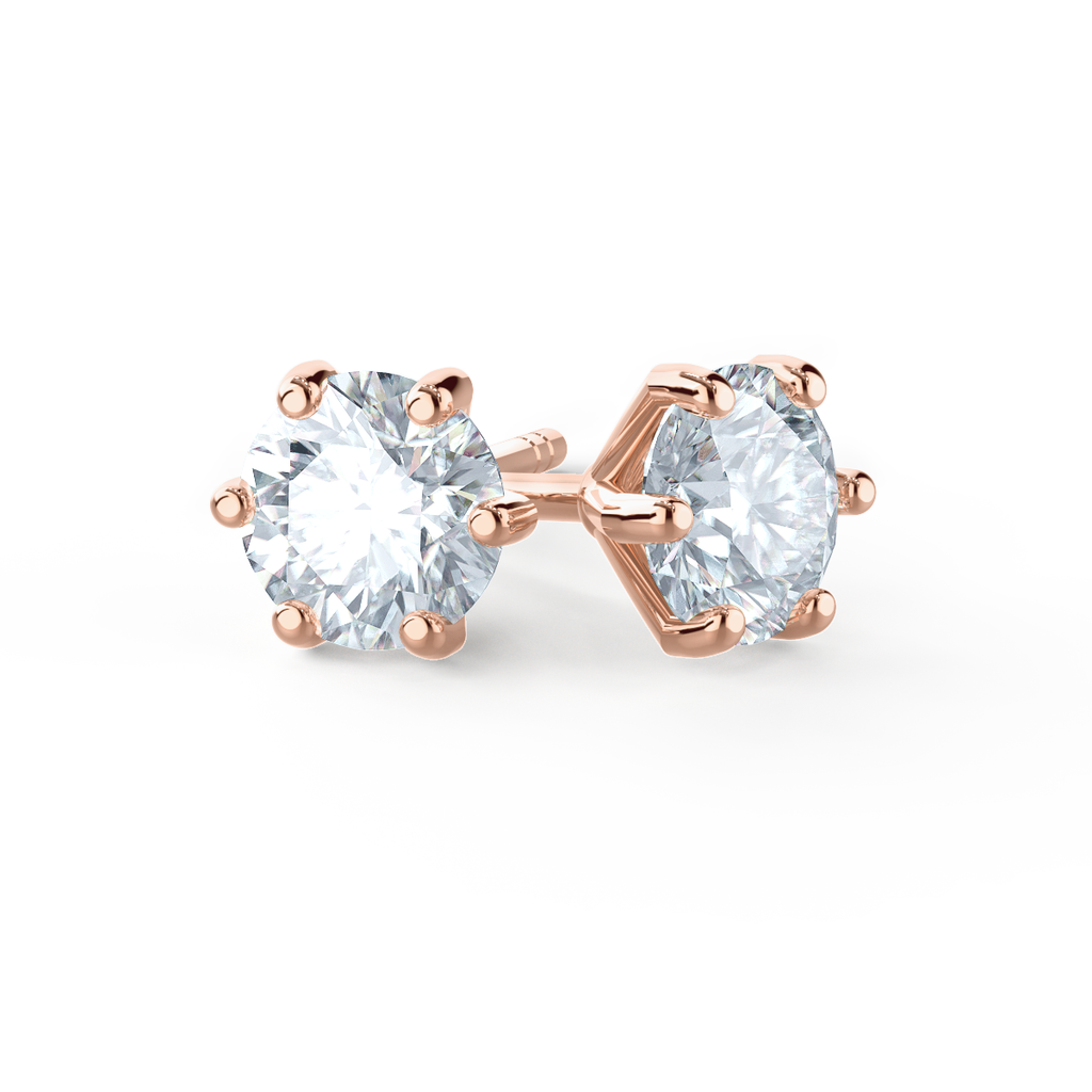 Rose Gold Diamond Alternative Moissanite Stud Earrings