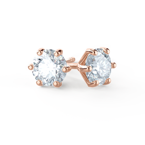 ELOISE - Round Moissanite 18k Rose Gold Stud Earrings Earrings Lily Arkwright
