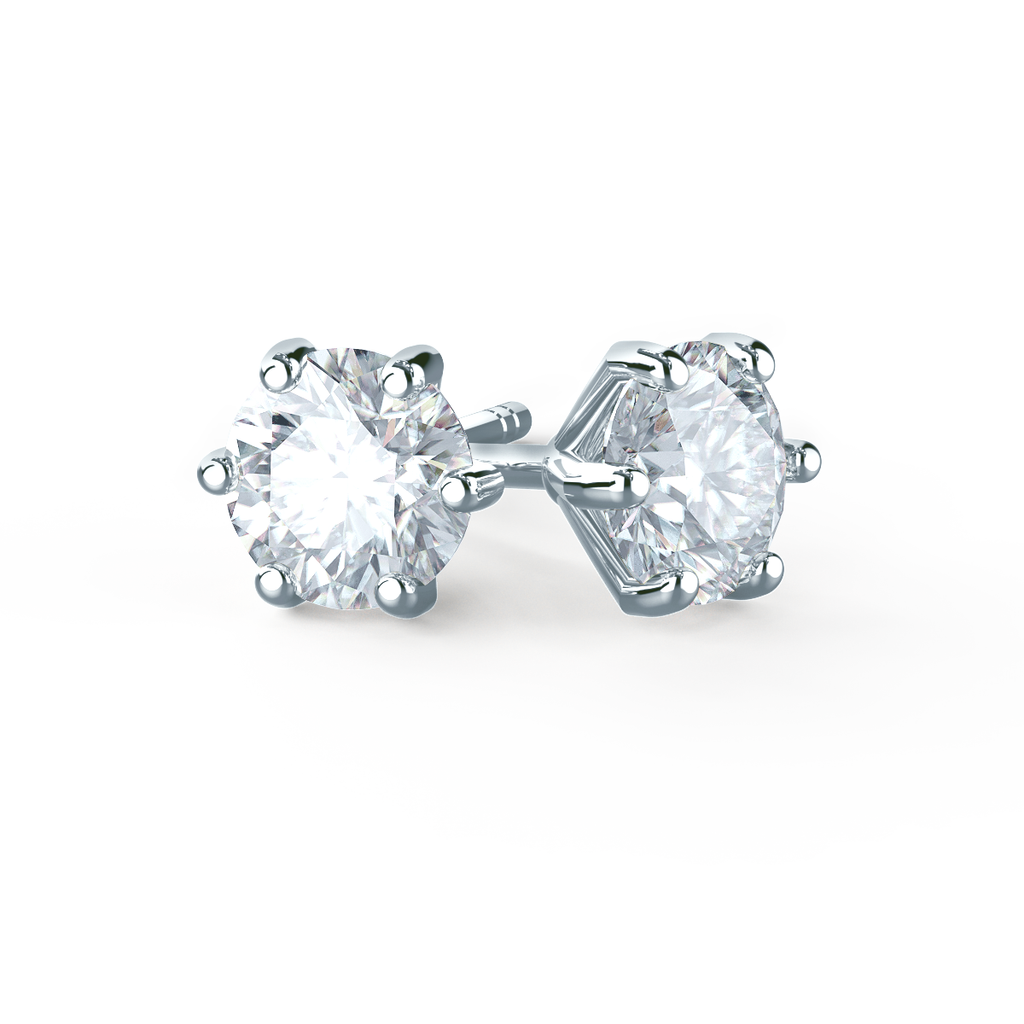 Eloise Beautiful Six Prong Contemporary 18K White Gold Charles & Colvard Forever One Moissanite Brilliant Round Cut Stud Earrings-Lily Arkwright