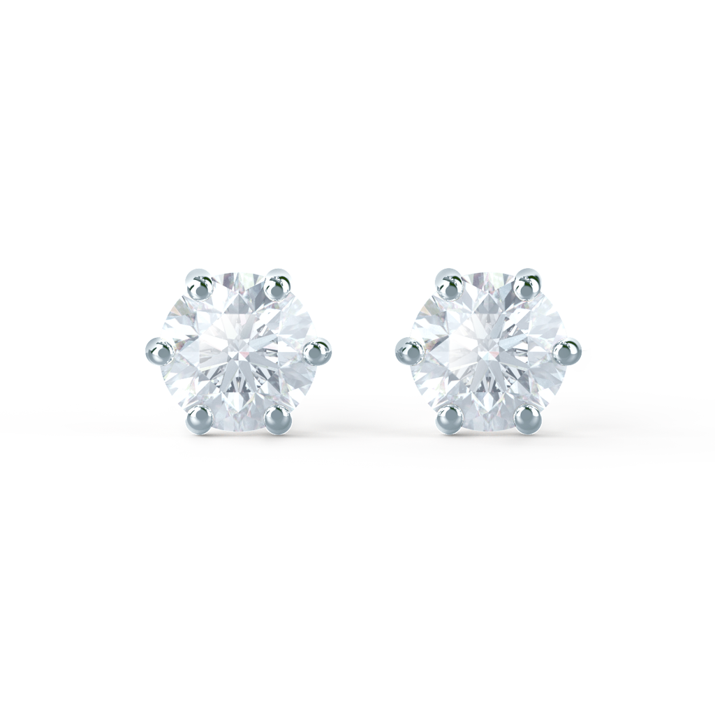 Eloise Platinum Round Moissanite Earrings