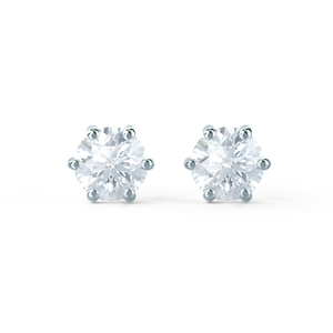 ELOISE - Round Moissanite 18k White Gold Stud Earrings Earrings Lily Arkwright