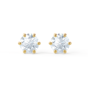 ELOISE - Round Moissanite 18k Yellow Gold Stud Earrings Earrings Lily Arkwright