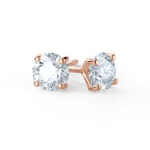 Sena 18K Rose Gold 4 Prong Moissanite Round Earrings