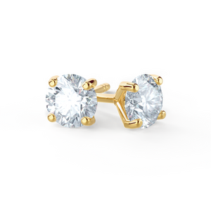 Sena 18K Yellow Gold 4 Prong Round Moissanite Earrings