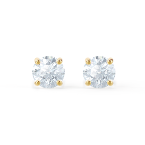 Lily Arkwright Earrings SENA - Moissanite 18k Yellow Gold Brilliant Round Earrings