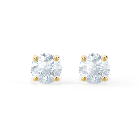 Yellow Gold 4 Prong Round Moissanite Studs