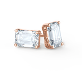 AVIANA - Charles & Colvard Moissanite 18k Rose Gold Emerald Stud Earrings