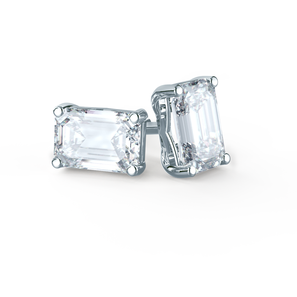 18k White gold finish 6 claw emerald round cut stud earrings free postage