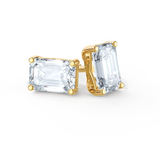 Yellow gold emerald cut moissanite