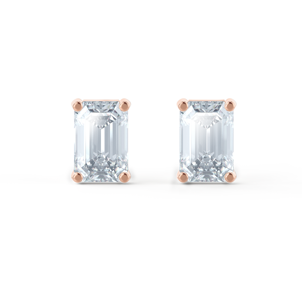 Lily Arkwright Earrings AVIANA - Charles & Colvard Moissanite 18k Rose Gold Emerald Stud Earrings