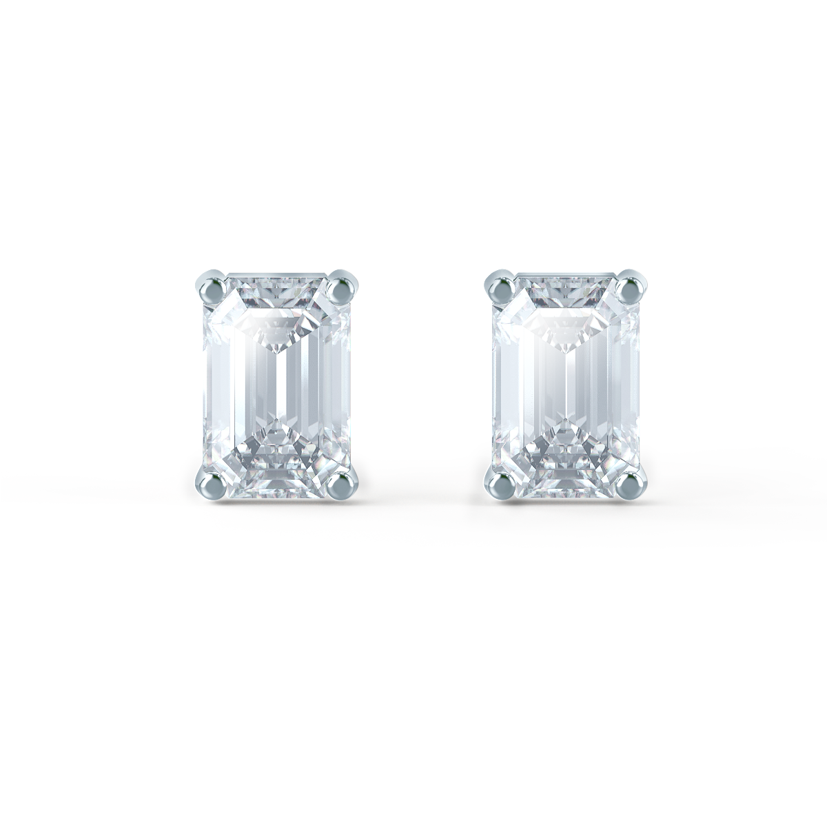Lily Arkwright Earrings AVIANA - Charles & Colvard Moissanite 18k White Gold Emerald Stud Earrings