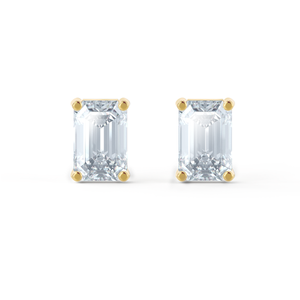 Lily Arkwright Earrings AVIANA - Charles & Colvard Moissanite 18k Yellow Gold Emerald Stud Earrings