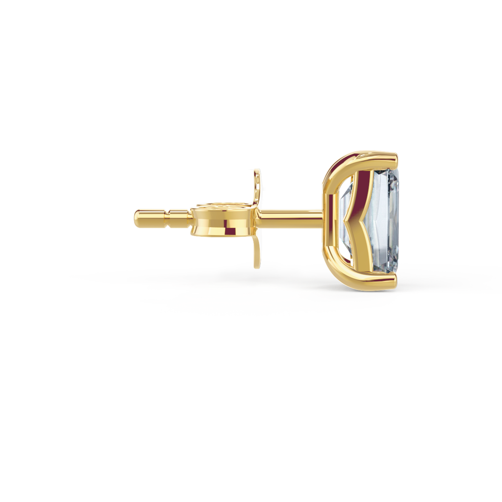 Yellow gold emerald cut moissanite stud earrings