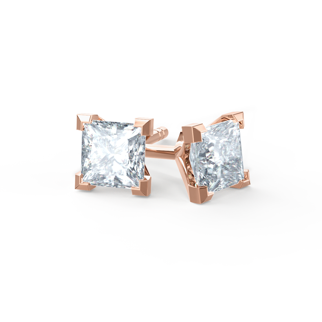 Trinity 18K Rose Gold Princess Cut Moissanite Earrings
