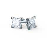 Trinity Stunning 4 Prong Platinum Charles & Colvard Forever One Moissanite Square Princess Cut Stud Earrings-Lily Arkwright