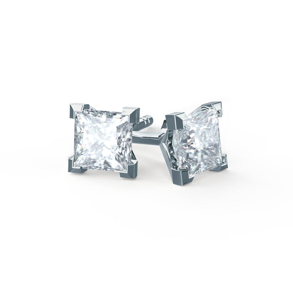 TTrinity Stunning 4 Prong 18K White Gold Charles & Colvard Forever One Moissanite Square Princess Cut Stud Earrings-Lily Arkwright