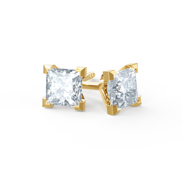 Trinity Yellow Gold Princess Cut Earrings