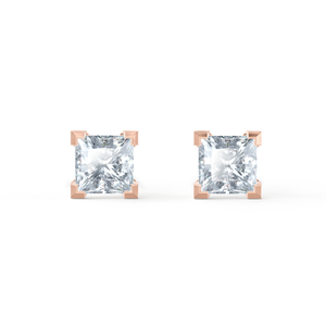 TRINITY - Princess Moissanite 18k Rose Gold Stud Earrings Earrings Lily Arkwright