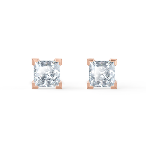 Trinity 18K Rose Gold Princess Cut Moissanite Studs