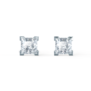Lily Arkwright Earrings TRINITY - Charles & Colvard Moissanite 18k White Gold Princess Stud Earrings