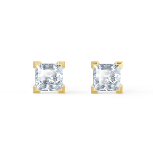 Trinity 18K Yellow Gold Princess Cut Moissanite Earrings