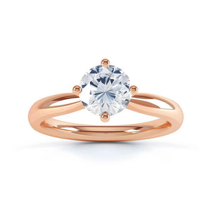 ADORA - Round Moissanite 18k Rose Gold Solitaire Ring Engagement Ring Lily Arkwright