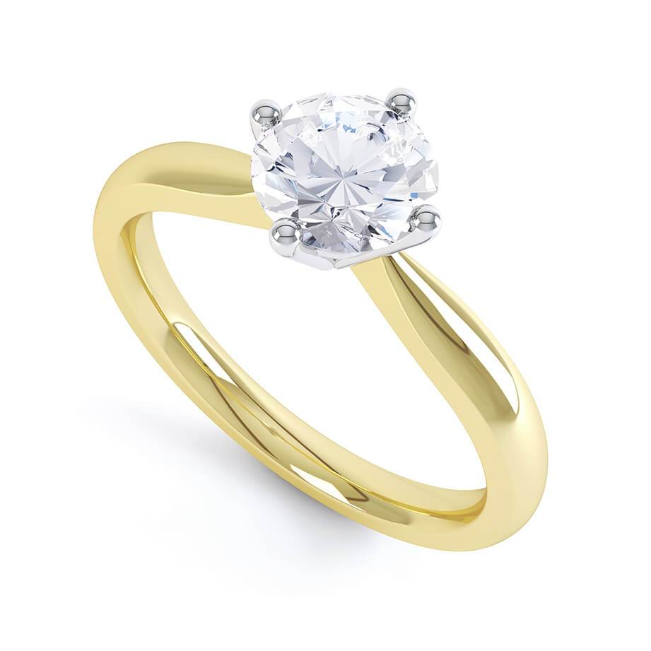 Lily Arkwright Engagement Ring ADORA - Charles & Colvard Moissanite 18k Two Tone Gold Solitaire