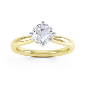 ADORA - Round Moissanite 18k Two Tone Yellow Gold Solitaire Ring Engagement Ring Lily Arkwright