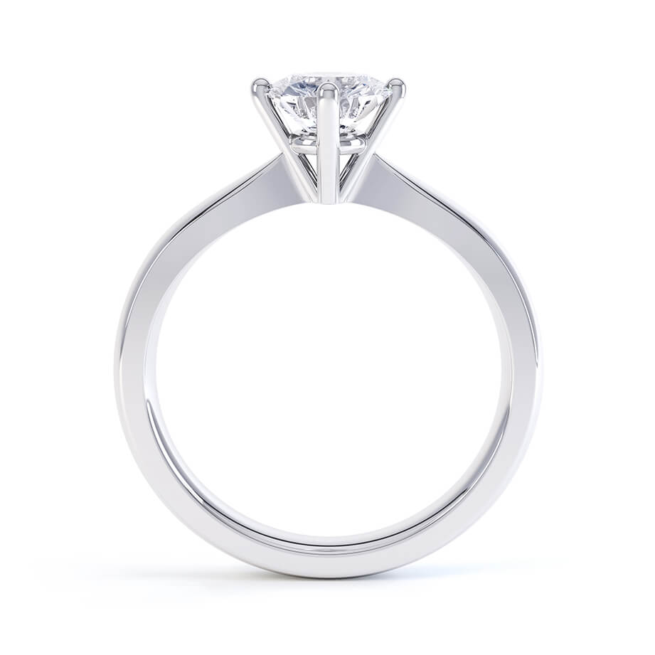 ADORA - Round Moissanite 9k White Gold Solitaire Ring Engagement Ring Lily Arkwright