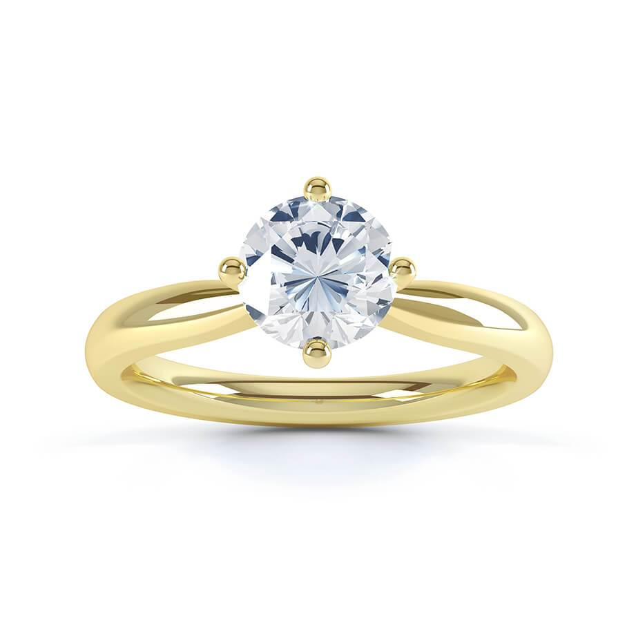ADORA - Charles & Colvard Moissanite 18k Yellow Gold Solitaire