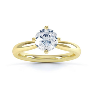 ADORA - Round Moissanite 18k Yellow Gold Solitaire Ring Engagement Ring Lily Arkwright