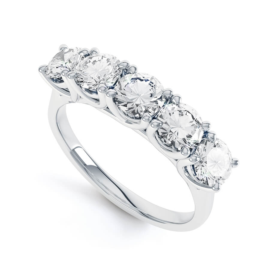 AMABEL - Charles & Colvard Moissanite Platinum Five Stone Eternity Ring