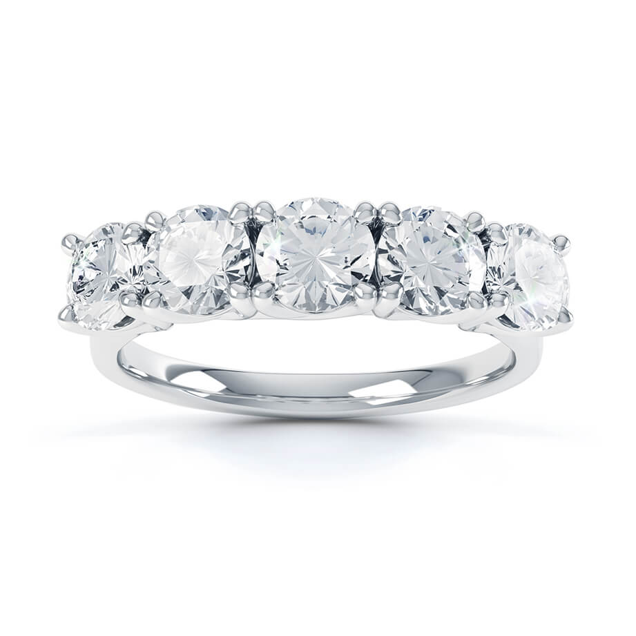 AMABEL - Charles & Colvard Moissanite 18k White Gold Five Stone Eternity Ring