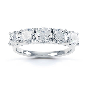 Lily Arkwright Engagement Ring AMABEL - Charles & Colvard Moissanite 18k White Gold Five Stone Eternity Ring