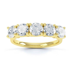 AMABEL - Round Moissanite 18k Yellow Gold Five Stone Ring Engagement Ring Lily Arkwright