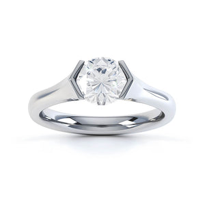 AMARA - Round Moissanite 950 Platinum Solitaire Ring Engagement Ring Lily Arkwright
