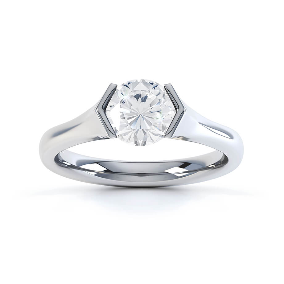 Lily Arkwright Engagement Ring AMARA - Charles & Colvard Moissanite 9k White Gold Round Solitaire Ring