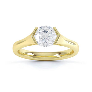 AMARA - Charles & Colvard Moissanite 18k Yellow Gold Round Solitaire Ring