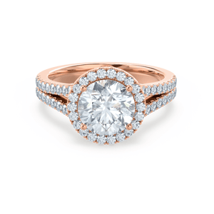Lily Arkwright Engagement Ring AMELIA - Charles & Colvard Moissanite & Diamond 18k Rose Gold Halo Ring