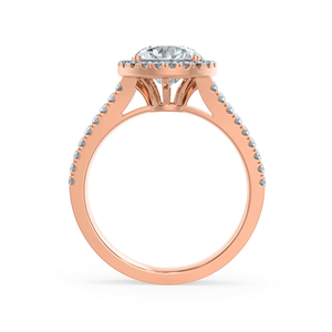 AMELIA - Round Moissanite & Diamond 18k Rose Gold Halo Ring Engagement Ring Lily Arkwright