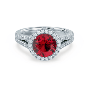 Lily Arkwright Engagement Ring AMELIA - Lab Grown Red Ruby & Diamond Platinum Halo Ring
