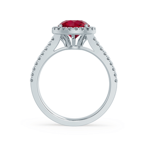 AMELIA - Lab Grown Red Ruby & Diamond 18k White Gold Halo Ring Engagement Ring Lily Arkwright