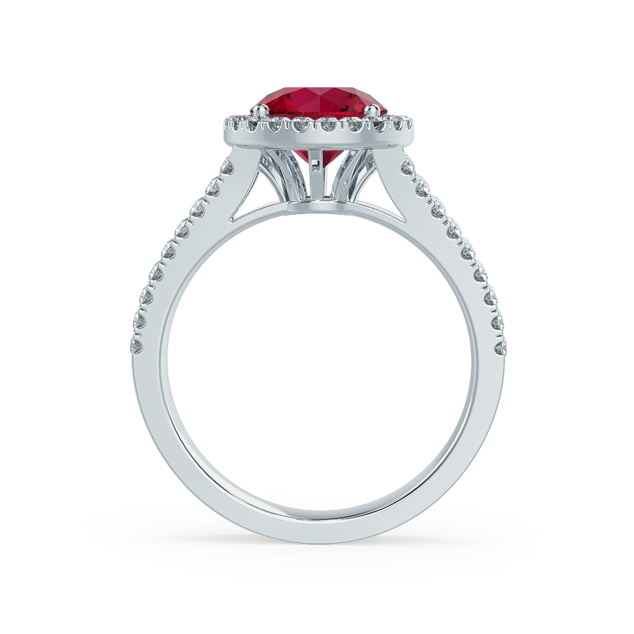 Amelia Lab Grown Red Ruby & Diamond Platinum Halo Ring