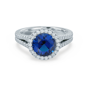 AMELIA - Lab Grown Blue Sapphire & Diamond 18k White Gold Halo Ring Engagement Ring Lily Arkwright