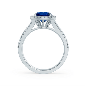 AMELIA - Lab Grown Blue Sapphire & Diamond Platinum Halo Ring
